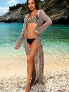 Длинная пляжная туника телесного оттенка с длинным рукавом