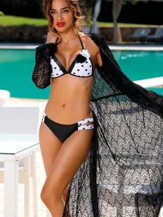 Длинная пляжная туника черного цвета с длинным рукавом