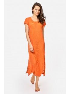 Длинная оранжевая летняя туника с коротким рукавом