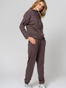 Домашний женский коричневый брючный костюм в спортивном стиле