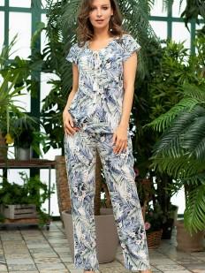 Женская пижама с брюками и блузкой из вискозы с тропическим принтом