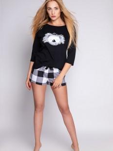 Черная женская пижама с шортами в клетку и принтом коалы