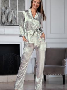 Женская атласная серебристая пижама с цветочным принтом и брюками в полоску