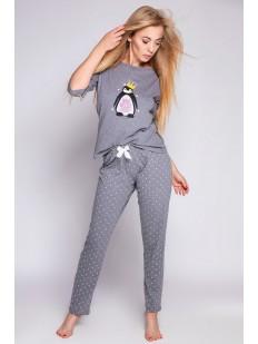 Брючная серая женская пижама хб с пингвином в короне и белыми звездочками