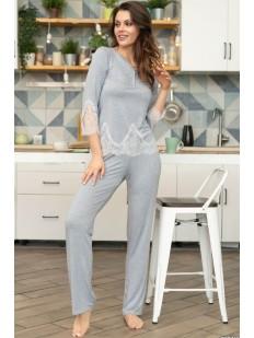 Женская серая брючная пижама из вискозы с кружевом