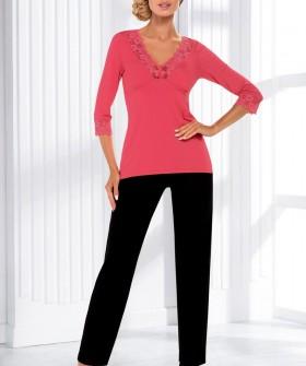 Женская трикотажная пижама с брюками из вискозы коралловая