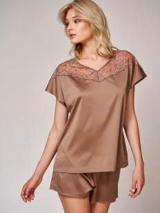 Атласная коричневая женская пижама с шортами и красивой футболкой