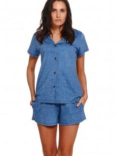 Летняя джинсовая пижама с шортами и рубашкой на пуговицах