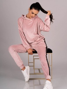Домашний велюровый женский костюм с брюками и кофтой из хлопка розового цвета