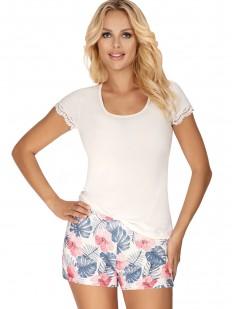 Трикотажная женская летняя пижама с принтованными шортиками