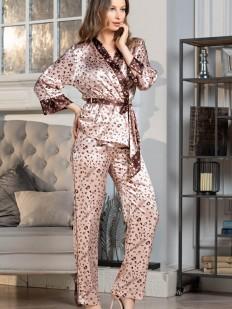 Женский домашний костюм тройка: атласные брюки, топ и жакет