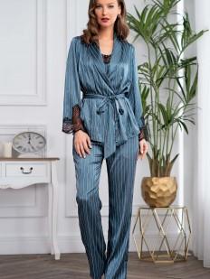Женская атласная бирюзовая пижама с брюками и жакетом в полоску