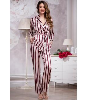 Атласная женская кремовая пижама с брюками в бордовую полоску