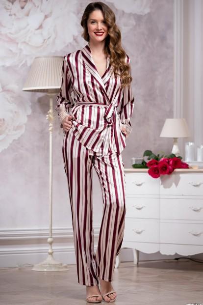 Атласная женская пижама с брюками в бордовую полоску Mia-Amore NORMANDIA 8486 - фото 1