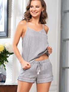 Летняя трикотажная пижама из вискозы с шортами и топом на бретелях