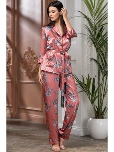 Атласная женская розовая пижама с брюками и принтом зебры
