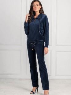 Женский домашний велюровый синий костюм с брюками и курточкой