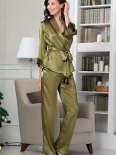 Шелковая женская пижама с брюками оливковая
