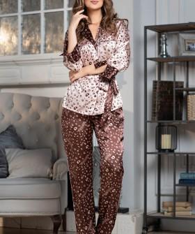 Домашний женский костюм с атласными брюками и жакетом
