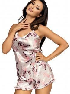 Женская атласная летняя пижама с шортами и цветочным принтом бежевая