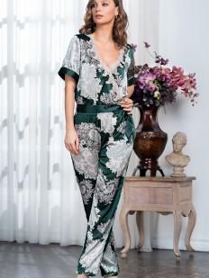 Принтованная шелковая женская пижама с брюками и блузой изумрудного цвета