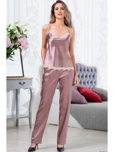 Пудровый пижамный женский комплект тройка с брюками