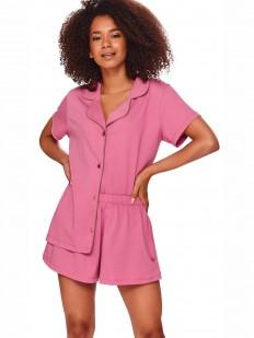 Розовая летняя женская пижама с рубашкой и шортами из хлопка