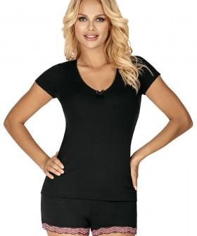 Летняя трикотажная женская пижама черного цвета с шортами и футболкой