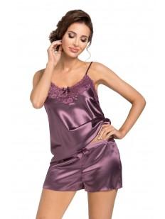 Атласная сиреневая женская пижама с шортами и топом на тонких бретелях