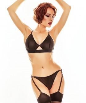Женский комплект черного белья из прозрачной сеточки