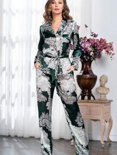 Шелковая женская пижама с брюками и рубашкой в изумрудном цвете с серебристым принтом