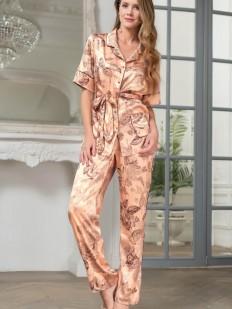 Шелковая брючная женская пижама с цветочным принтом