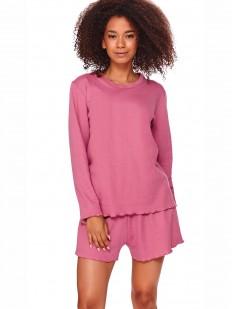 Розовая женская хлопковая пижама с шортами и кофтой лонгслив