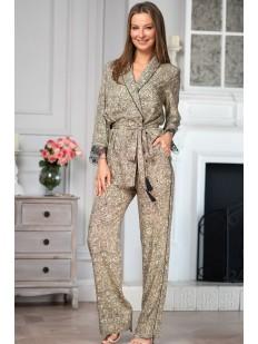 Домашний женский комплект из вискозы: брюки и жакет