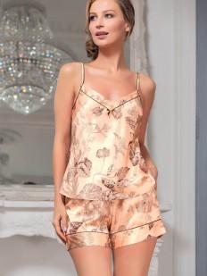 Летняя женская пижама с шортами из шелкового полотна с цветочным принтом