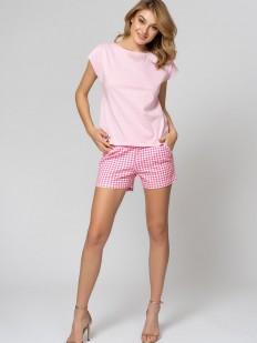 Розовая летняя женская пижама с шортами в клетку и хлопковой футболкой