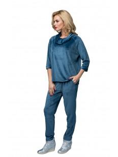 Домашний голубой женский велюровый костюм с брюками и воротником