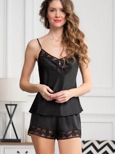 Черная атласная летняя пижама с шортами и топом