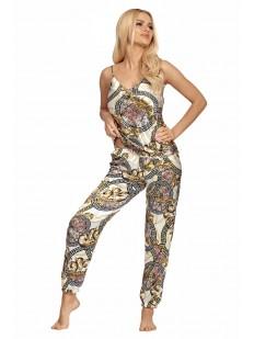 Женская атласная брючная пижама на тонких бретелях с элегантным принтом