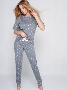 Хлопковая брючная женская пижама с принтом в сердечко