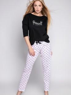 Женская хлопковая пижама с брюками в полоску и черным лонгсливом с надписью принцесса