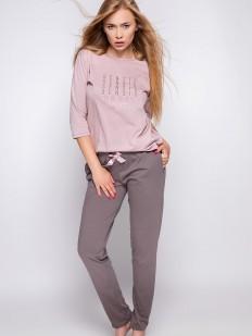 Розовая женская пижама из хлопка с лонгсливом и брюками цвета мокко