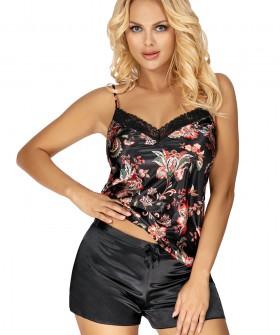 Черная атласная женская пижама с шортами и принтованный топом на лето