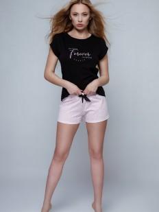 Хлопковая женская пижама с леопардовыми шортами и футболкой