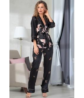 Черная атласная женская пижама с брюками жакетом и топом