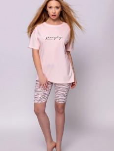 Женская хлопковая пижама с футболкой и принтованными велосипедками