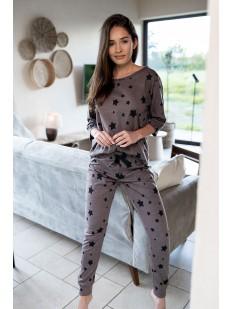 Брючная женская пижама цвета какао с принтом в виде звезд
