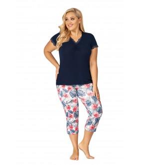 Женская трикотажная пижама большого размера с тропическими укороченными брюками