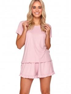 Летняя розовая женская пижама: футболка и шорты с рюшами
