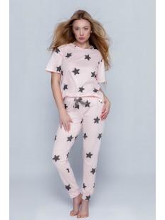Женская розовая пижама - футболка и брюки с принтом в виде звезд